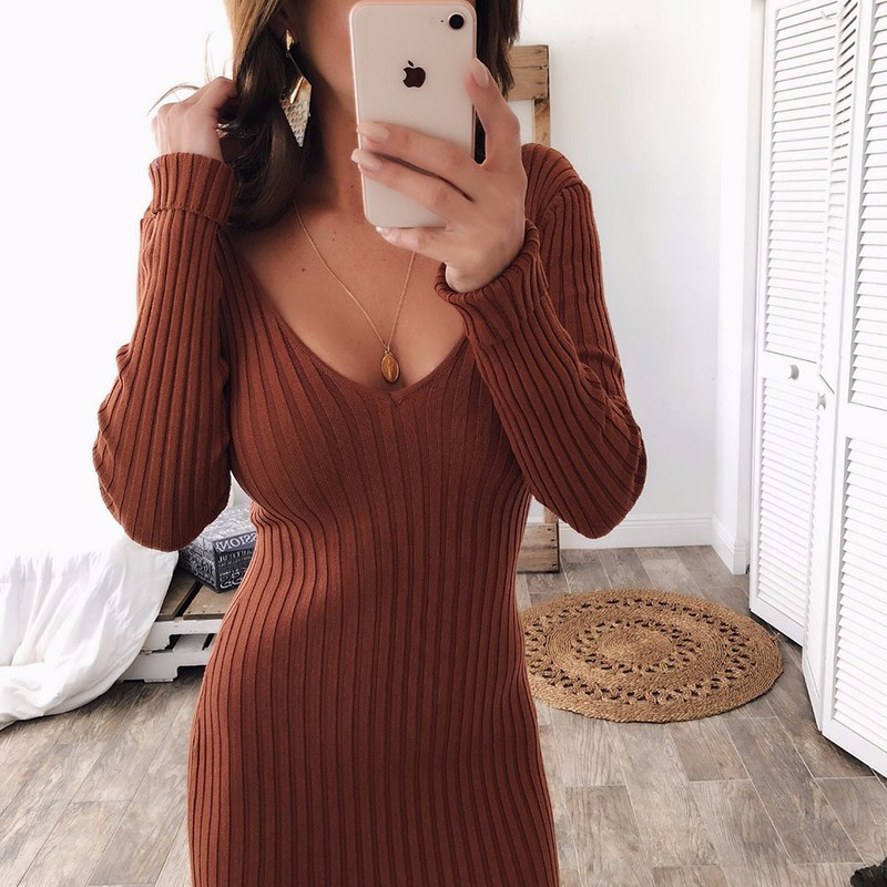Sexy Slim Women Pencil Dress Bodycon Long Sleeve Solid Autumn Winter Basis Dresses V Neck Maxi Sweater Dress Vestido