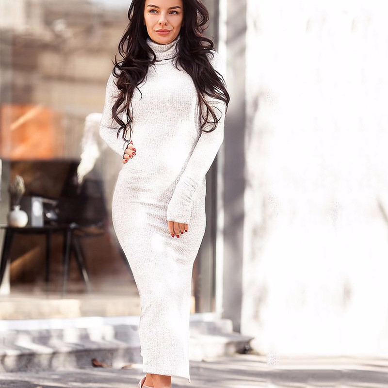 2018 Winter Basis Dress Women Fashion Knitting Turtleneck Sweater Dresses Bodycon Long Sleeve Maxi Casual Dress White