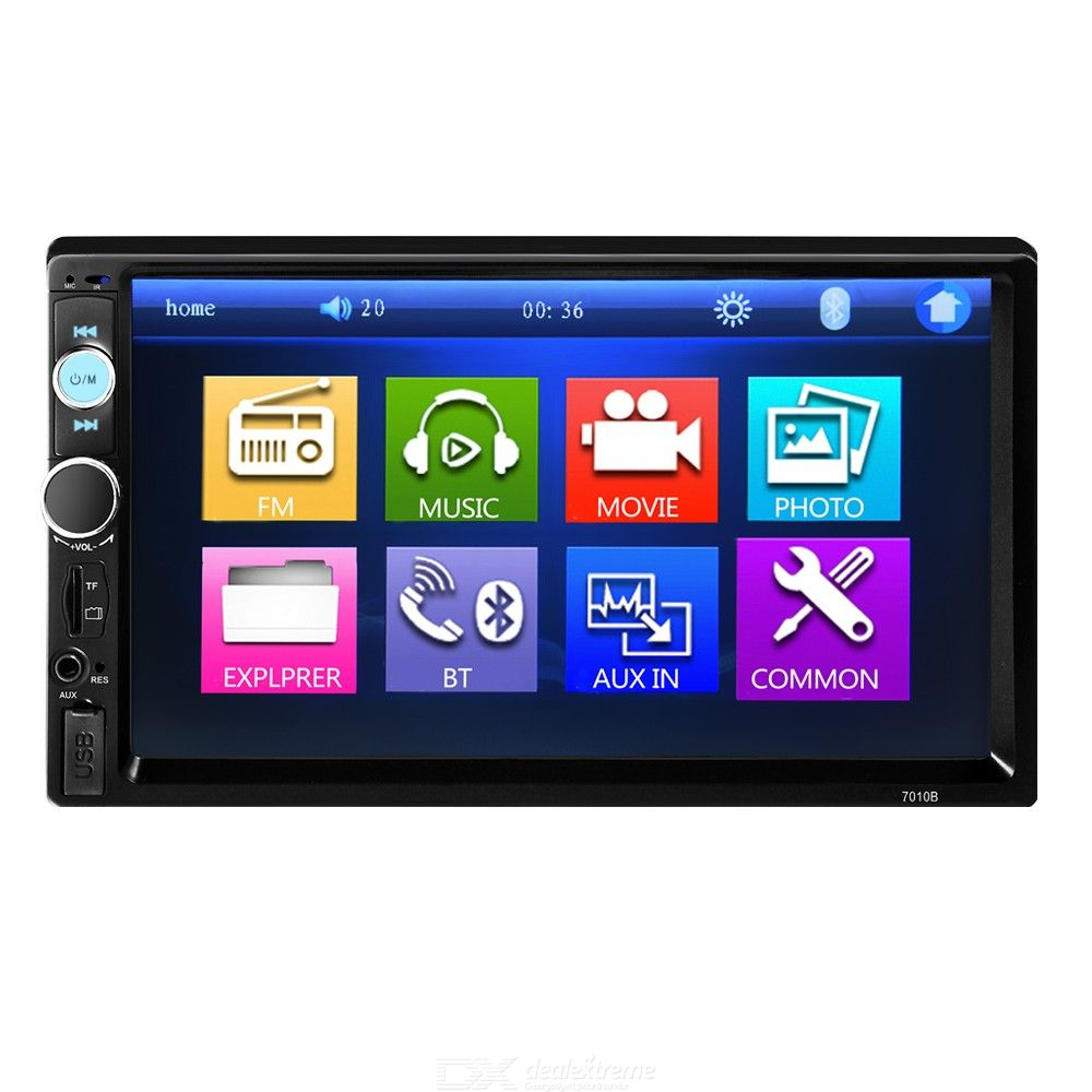 Car Radio 7010B 2Din 7 inch HD Touch Screen Multimedia player 12V Car Stereo Mirror Link Bluetooth Rear View Camera - Black