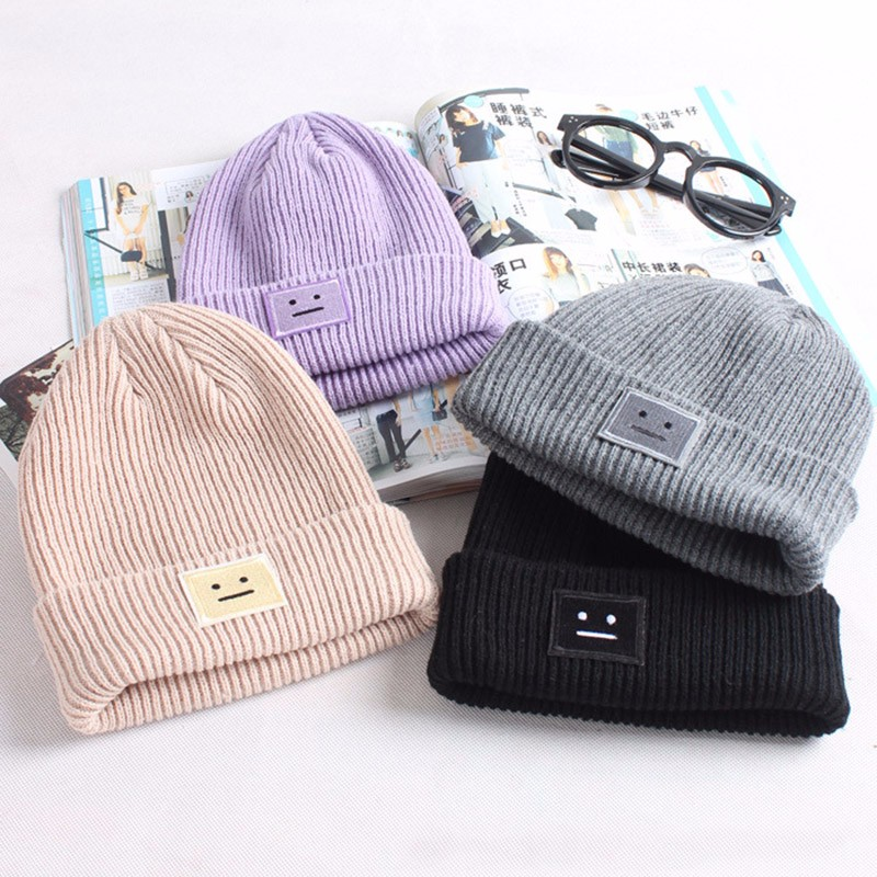 Gumprun 2018 Autumn And Winter New Hat Women Wool Square Smiley Face Winter Hats For Women Comfortable Warm Hat
