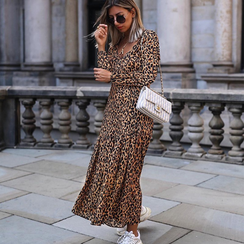Women Sexy V Neck Ruffles Leopard Print Long Dress Autumn Winter Long Sleeve Retro Ladies Maxi Dresses Casual Vestidos