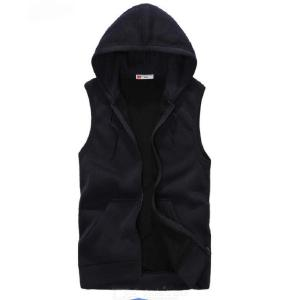 Mens Fashion Solid Color Sleeveless Hooded Sweatshirt Male Casual Tops Hoodie