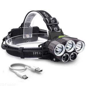 Outdoor Headlamp Flashlight LED Headlamps Bright USB  Rechargeable Waterproof 6 Modes 5 Heads Headlight For Camping Fishing