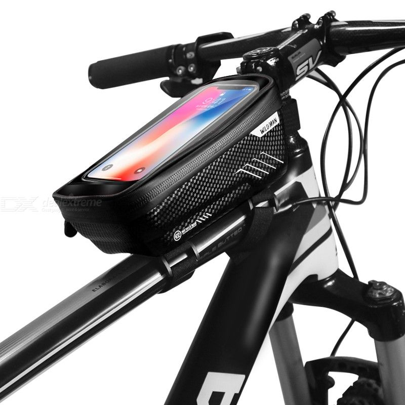 EVA Hard-shell Bicycle Pack Bag with Waterproof 6.2-inch Mobile Phone Case