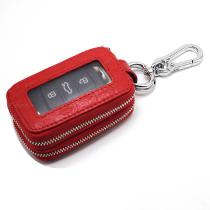 Casual-Cowhide-Car-Key-Wallet-Mini-Solid-Color-Keychain-Cover-With-Crocodile-Texture-For-Men-And-Women
