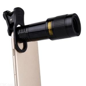Universal Phone Camera Lens Clip-on 12X Optical Zoom HD Telescope Lenses - Black