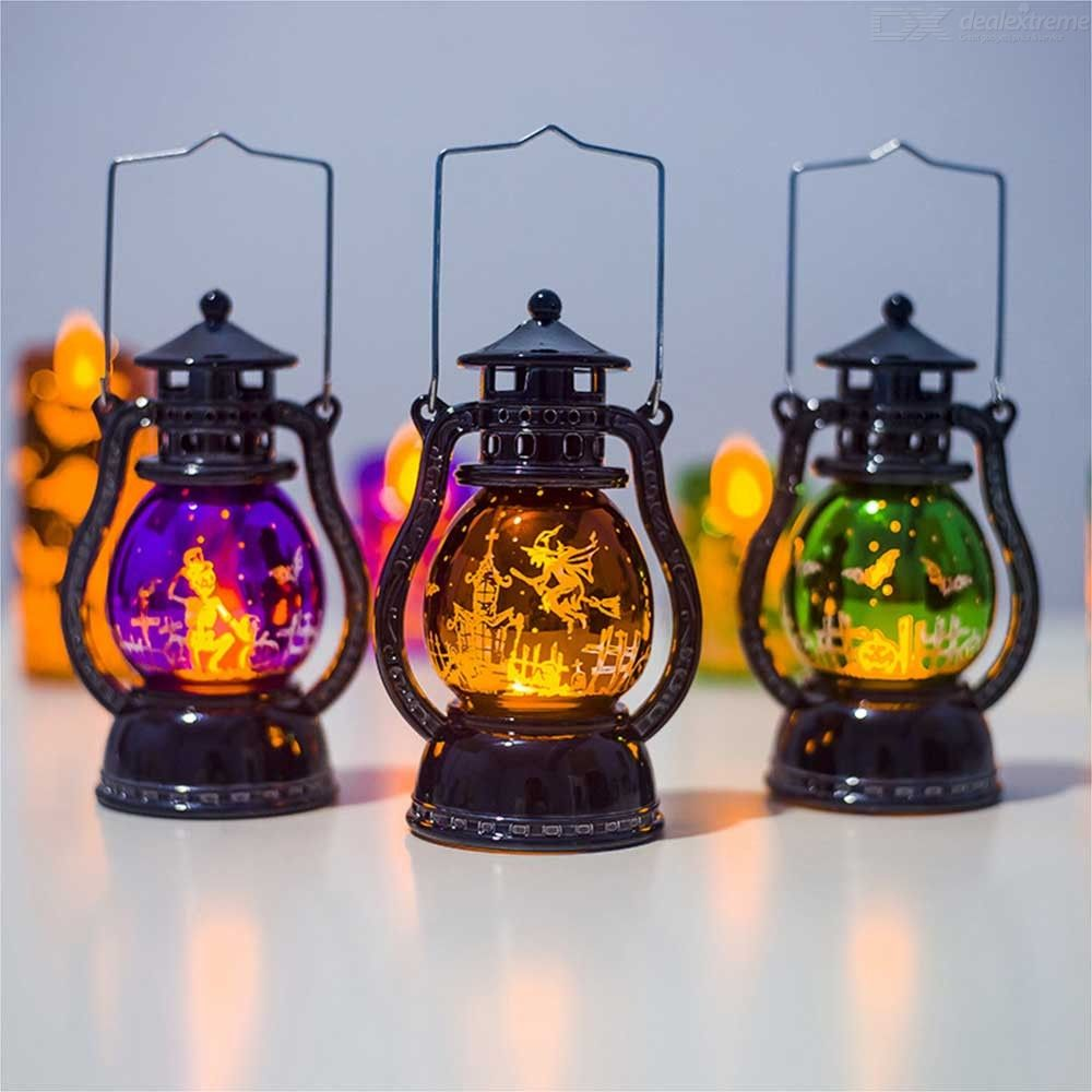 Portable Halloween LED Lantern Retro Style Gradient Auto Color Night Lamp For Halloween Party Decoration