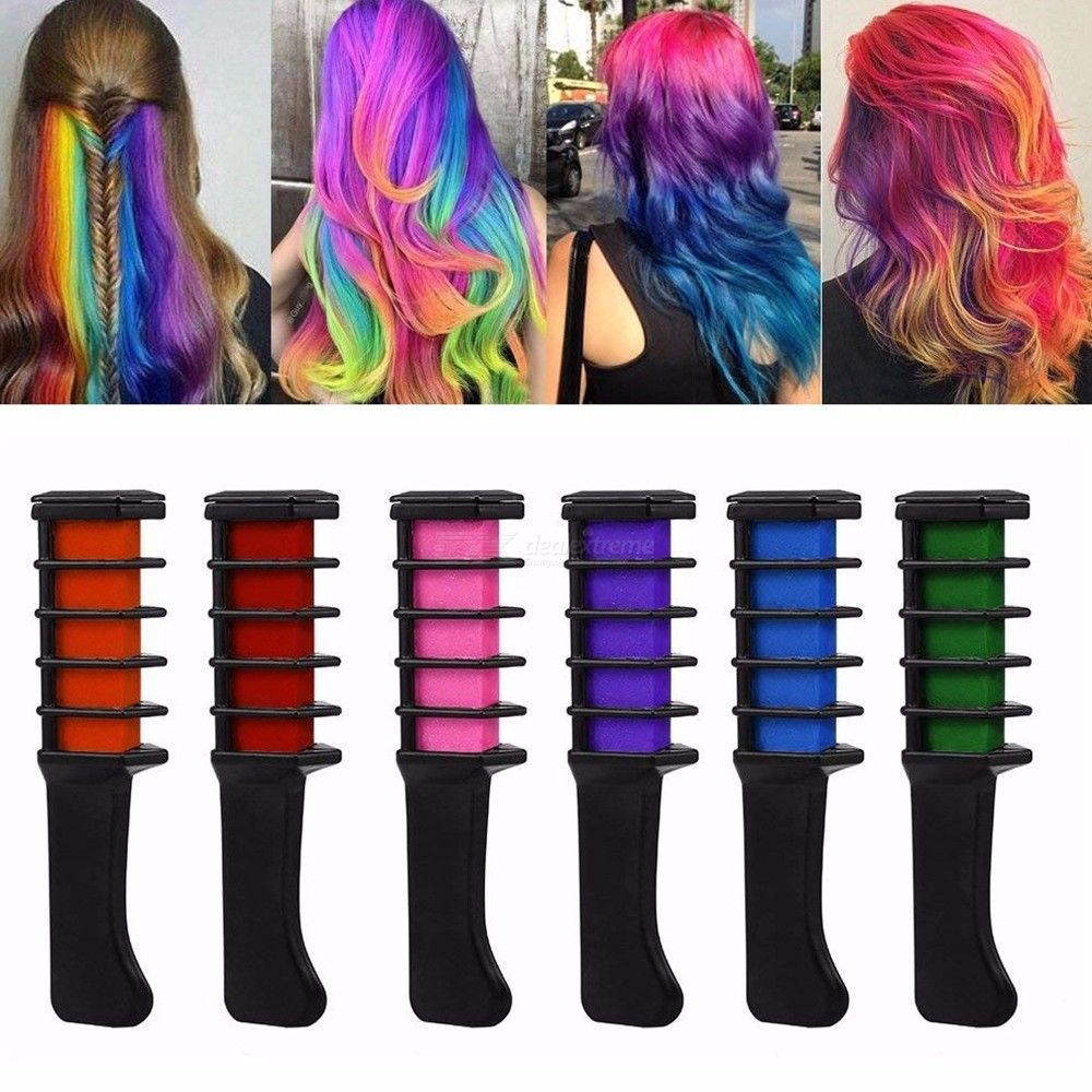 Mini Temporary Hair Chalks Crayons Brush, Multicolor Color Hair Dye Comb Hair Care Styling Tool