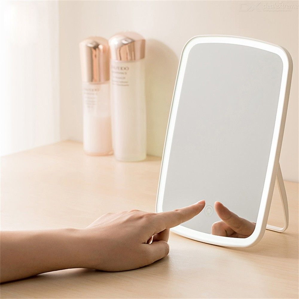 Folding Dimmable Table Countertop LED Lighted Cosmetic Makeup Mirror, Travel Vanity Mirror With Lights