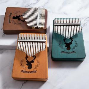 17 Key Kalimba Wood Thumb Piano Solid Mahogany Body W1PC Tunning Hammer 1PC Cleaning Cloth