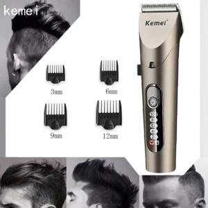 KEMEI KM-1627 Waterproof Electric Hair Trimmer, Rechargeable Hair Clipper Cutter With LCD Display - EU Plug
