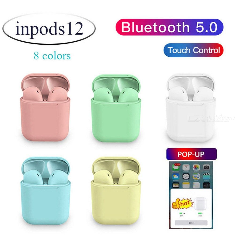 Inpods12 Bluetooth 5.0 Wireless Earphones Pop-up Noise Reduction 3D Stereo Touch Control Earbuds With Mic Charging Case