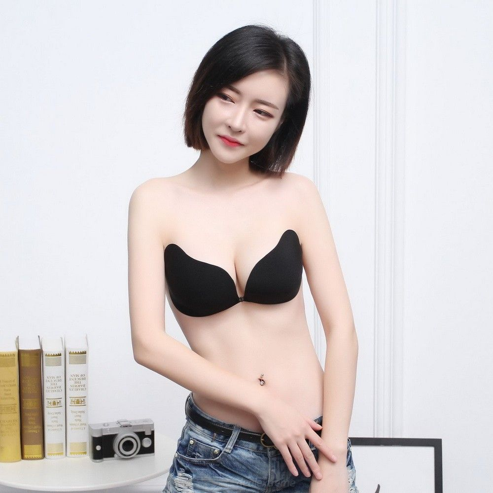 Front Closure Adhesive Bra, Strapless Sticky Invisible Push Up Silicone Bra Nipple Cover For Backless Dress