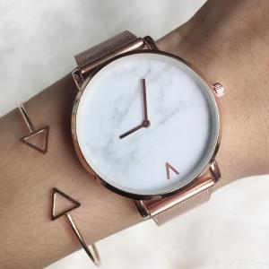 Minimalism Marble Round Dial Quartz Watch With Steel Mesh Strap For Women Lady