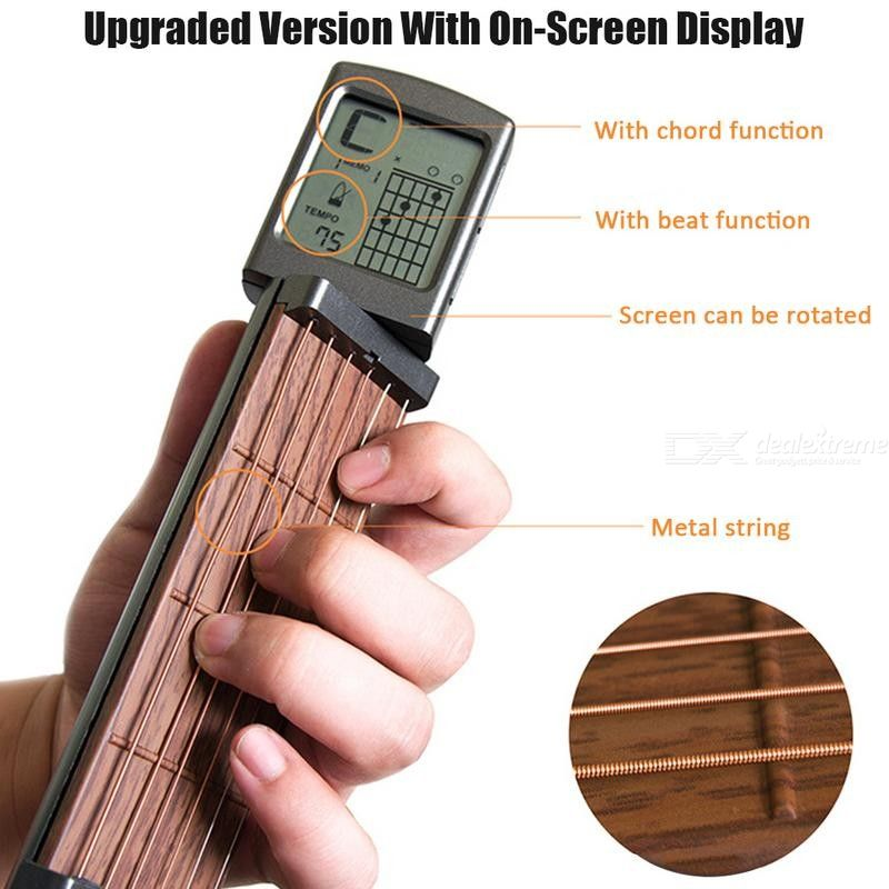 Pocket Guitar Portable Guitar Chord Practice Tool Neck With Rotatable Screen