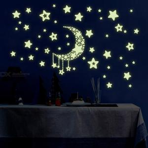 Night Light Luminous Glow In The Dark Moon Stars Wall Sticker Decal For Bedroom Living Room