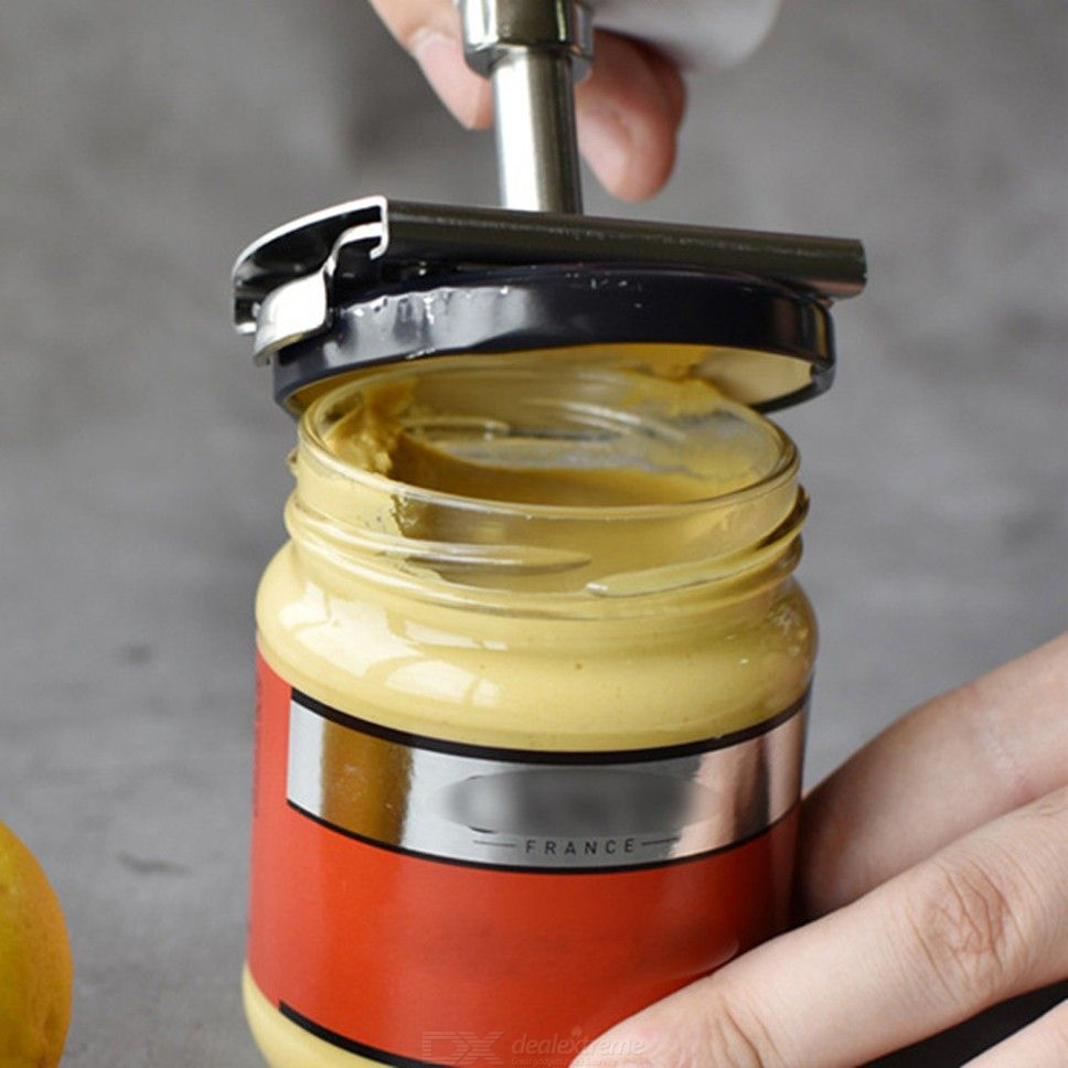 Universal Stainless Steel Rotating Bottle Can Opener With PP Handle And Rotatable Lid