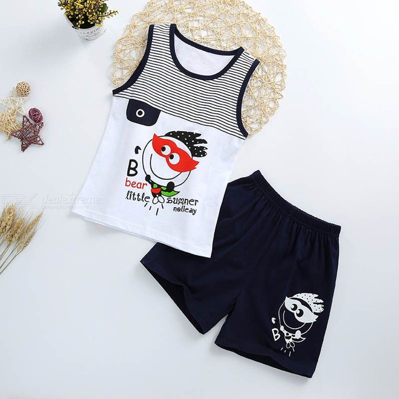 2018 Kids Baby Boy T-shirt Tank Tops And Shorts Set Cotton Summer Clothes Toddler Boys  Casual 2pcs Hot Sale