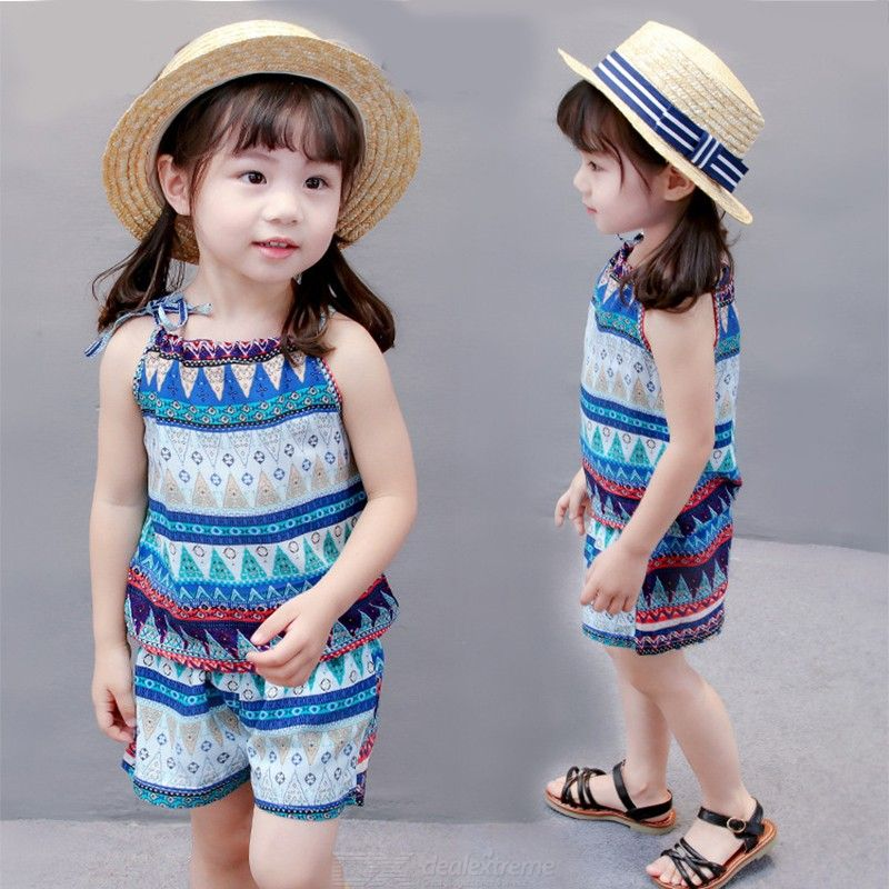 Fashion Girls Clothing Set 2018 Summer Baby Girls Clothes Flower Print Sleeveless Vest Shorts Children Clothes Cotton