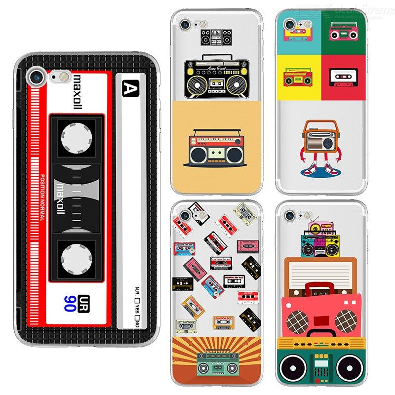 Transparent Phone Case For IPhone 6 6s 7 7plus 8 8plus X X Black Soft TPU Vintage Tape Painted Patterned Dirt-resistant