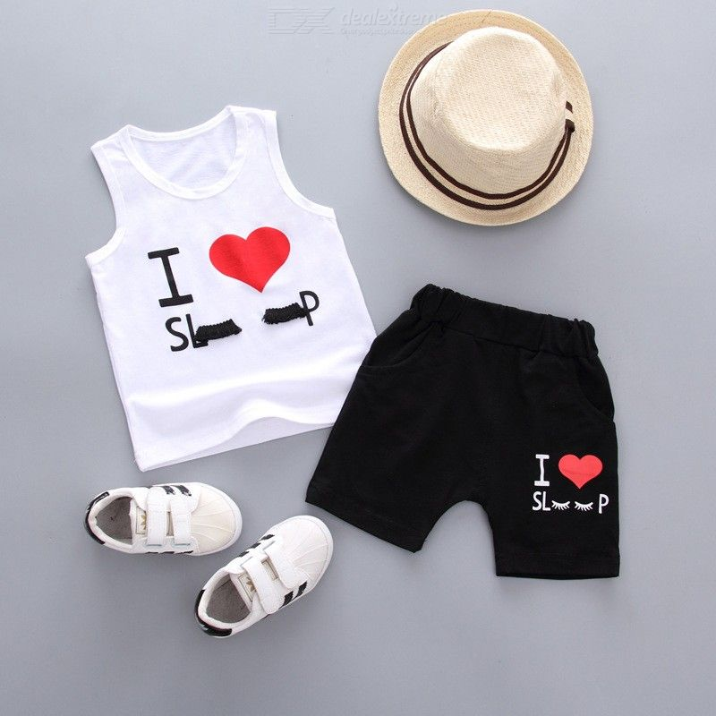 Cartoon I Love Sleeping Pattern Sleeveless Vest 2pcs Boy Girl Vest Suit Cute Childrens Clothing 2018 Summer Clothes 1-4