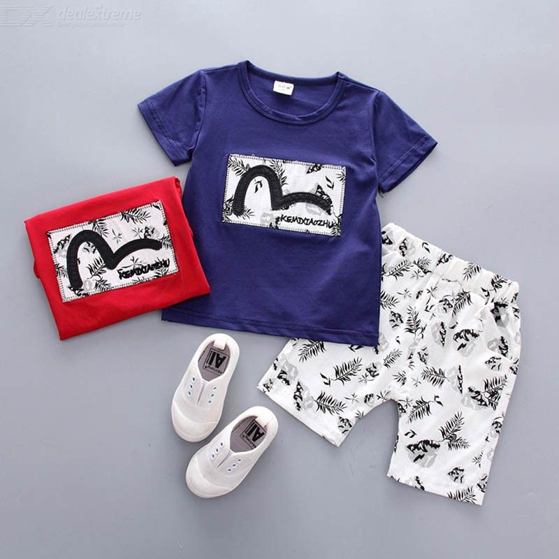 Hot Sale Boys Clothing Children Summer Print Pullover Casual Clothes  Sets T-shit+Pants Cotton Kids Short Sleeve 2pcs