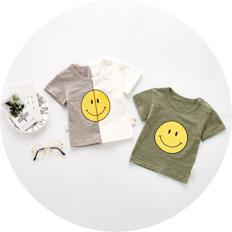 Cute Fashion Baby T-shirt Autumn Cotton Breathable Top Sunshine Boy Cartoon T-shirt Short-sleeved Childrens Clothing