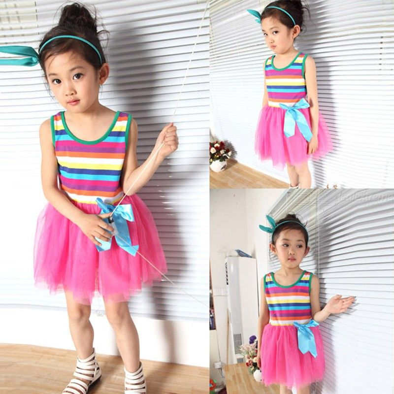 Girl Dress Rainbow Stripes For Girls Tulle Dresses Birthday Party Wedding Princess Dresses Kid Girl Clothes Summer