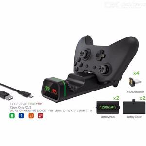 TYX-19058 Dual Slot Charging Dock Stand Base With 2 Battery Packs For XBox One  Slim  X Controller
