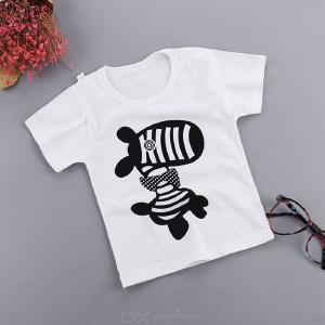 Cotton Girls Tops For Kids Clothing Summer Girls  Boys Short Sleeve T Shirts Cartoon Print T-shirt Striped Tee Shirt
