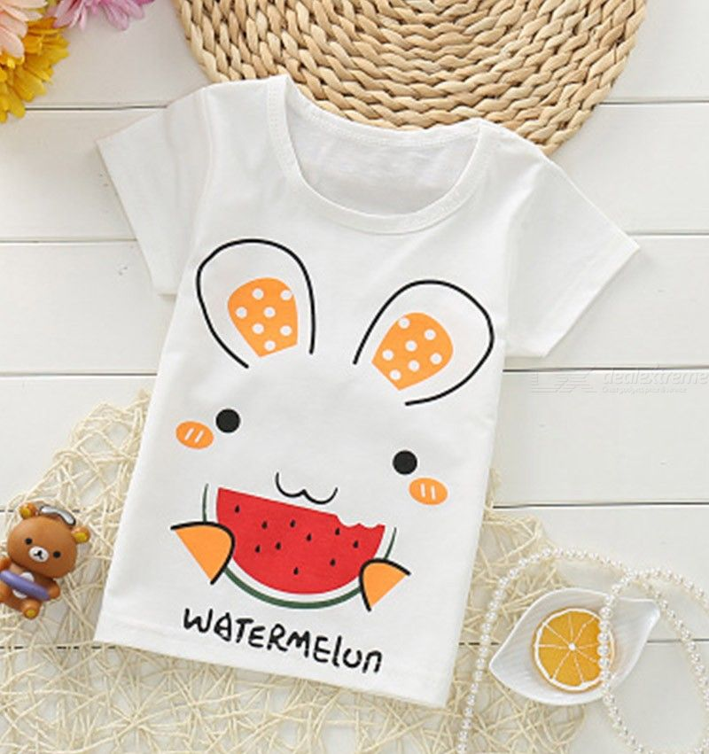 1-4Y Boys Girls Cute T-shirt Star Rabbit Cactus Printing Childrens T-Shirt Funny Kid Tshirt Toddler Clothes For Baby