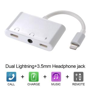 3 in 1 Audio Adapter for Lightning to Dual Light-ning Charging Port with 3.5mm Headphone Jack for iPhone XXRXS88P7P7