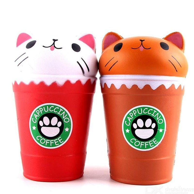 Kawaii Squishies Jumbo Cappuccino Coffee Cup Cat Toy Jokes Gags Toys Squish Antistress Scented 30S71221 Drop Shipping