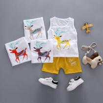 Summer-New-Vest-Suit-1-4-Years-Old-Sleeveless-Suit-Deer-Printed-Cotton-And-Linen-Casual-Sleeveless-Childrens-Clothing