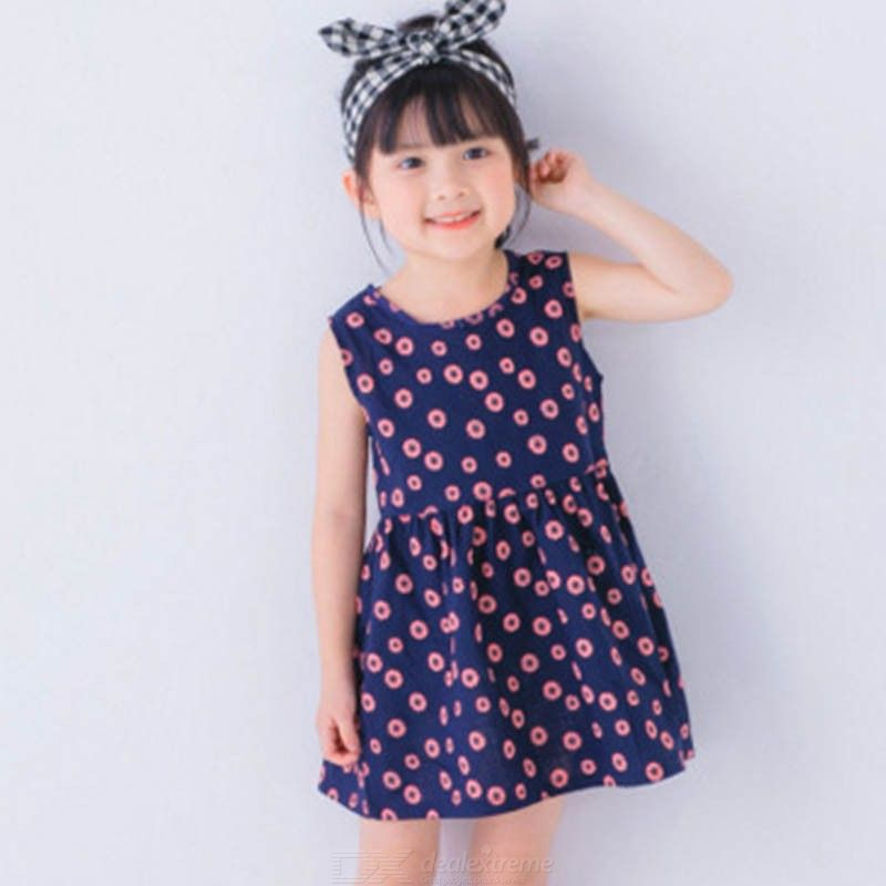 Cotton And Linen Girls Dress Childrens Clothing Summer New Princess Dress Sleeveless Printed Girls Dress 2-6Y