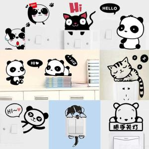 Cute Animal Light Switch Decals Removable Wall Laptop Stickers