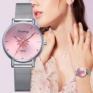Fashion Female Quartz Watch Casual All-match Wristwatch With Delicate Flower Pattern For Ladies