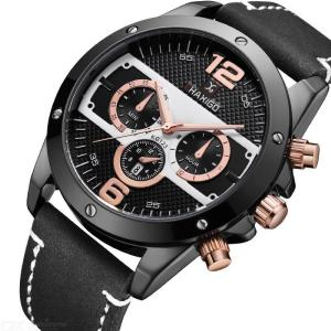 Fashion Male Quartz Wristwatch With Leather Band Mens Waterproof Sports Watch