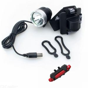 ZHISHUNJIA B01 T6 Bike Lamp, USB Rechargeable Bicycle Headlamp and Taillight
