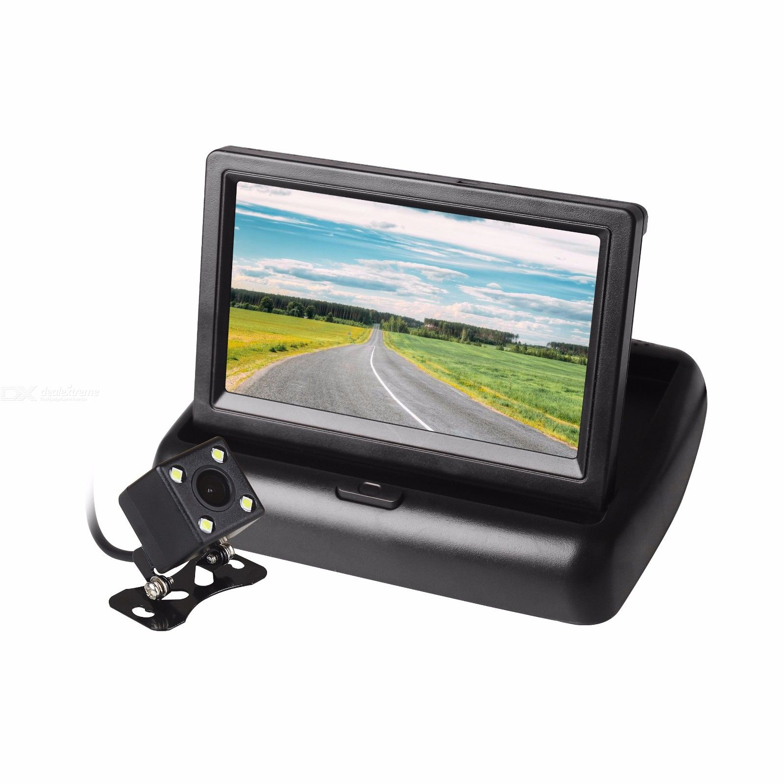 ZIQIAO 4.3 Inch Folding Car LCD Screen Monitor and LED Backup Rearview Camera 170 Degree Wide Angle Black