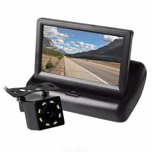 ZIQIAO 4.3 Inch Car LCD Screen Monitor and CCD Backup Rearview Camera 170 Degree Wide Angle Night Vision Black