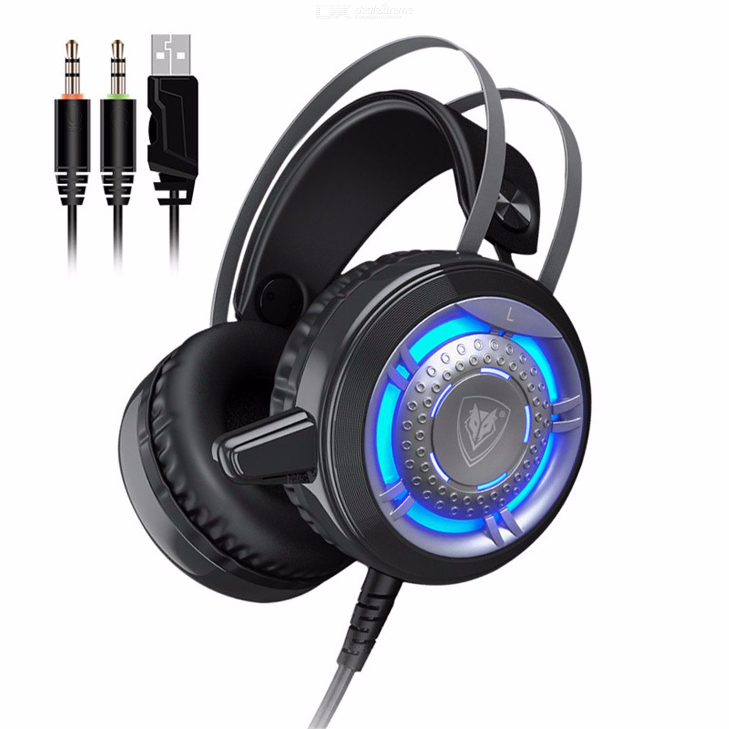 NUBWO N1 Gaming Headphone, Deep Bass Wired Game Headset Earphone With Microphone Voice Control LED Light for Computer PC