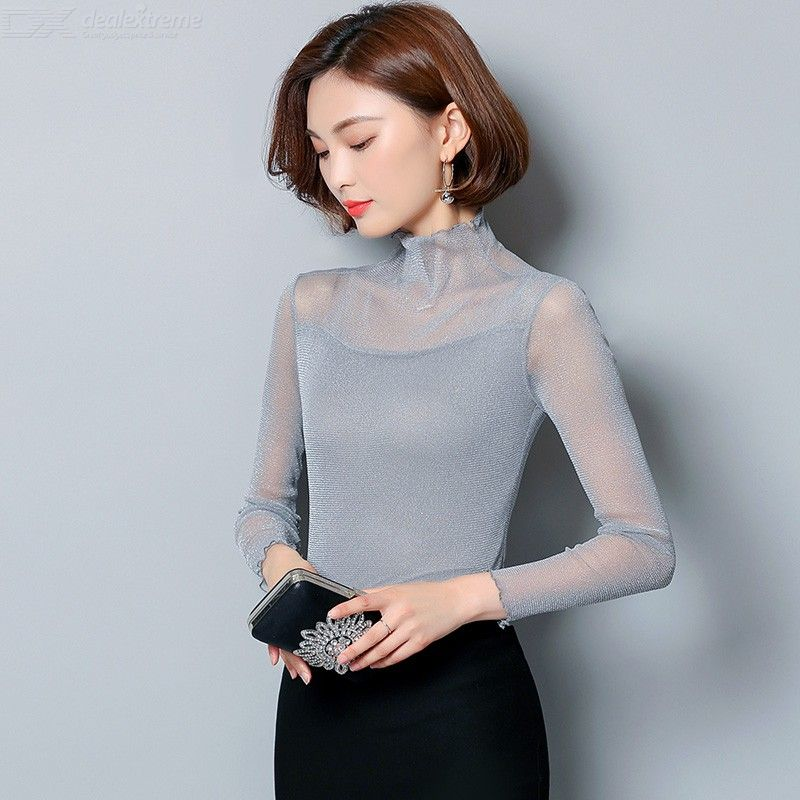See-Through | Sleeve | Sheer | Women | Mesh | Neck | High | Long | Top