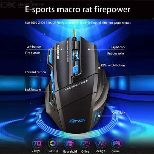 Gaming Mouse Wired Ergonomic Mouse With Breathing Light 7 Button Adjustable DPI Levels