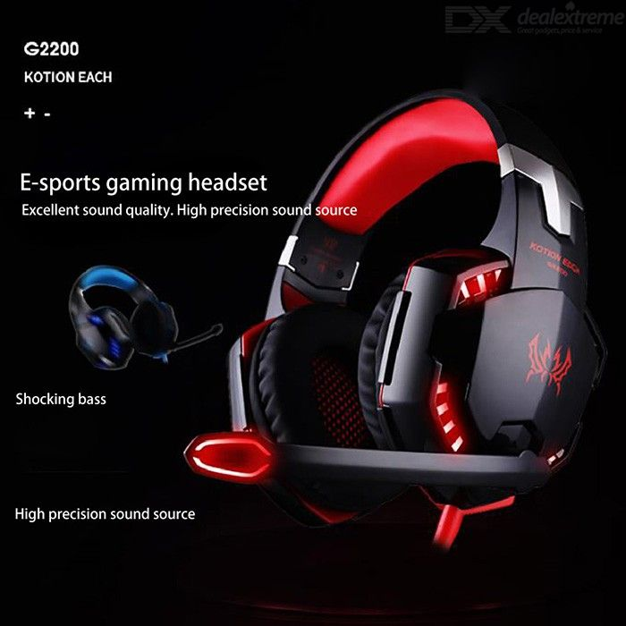 KOTION EACH G2200 Universal Wired USB 7.1 Channel Gaming Headphone Vibration Headset With LED Light For Computer Phone