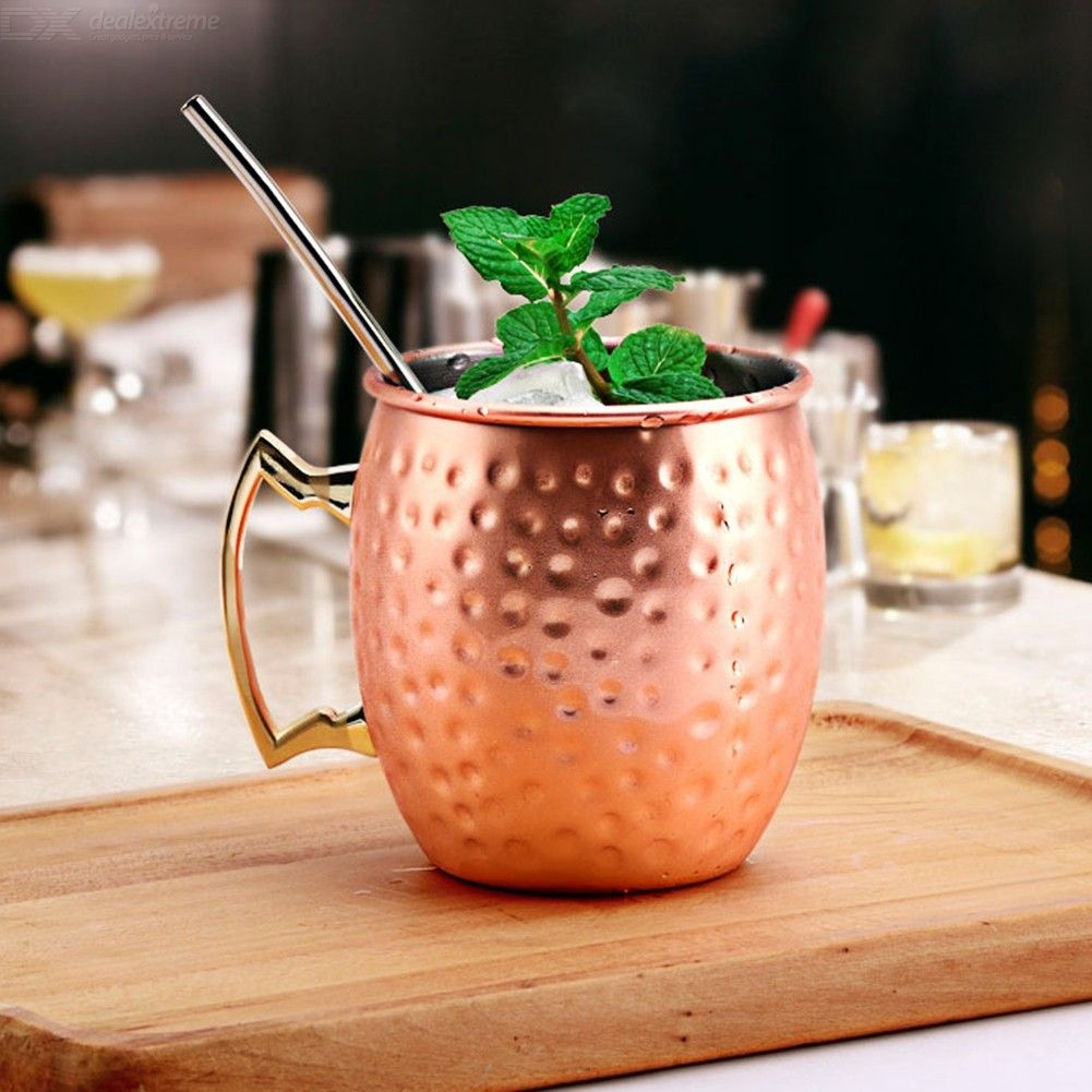 550ML 18oz Moscow Mule Mug Cup, Copper Plated 304 Stainless Steel Drinking Cup
