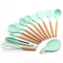12pcs Silicone Cooking Utensils Set With Wooden Handles Practical Home Kitchen Accessories For Nonstick Cookware