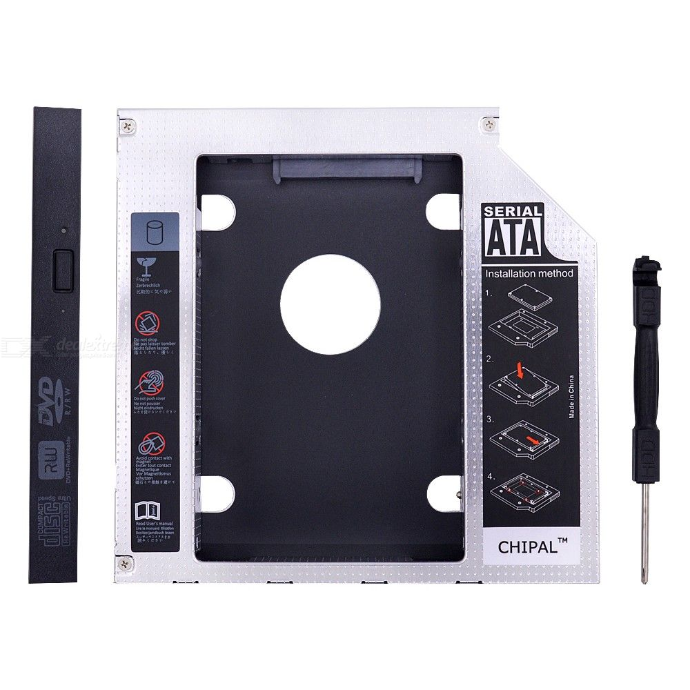 CHIPAL Aluminum SATA 3.0 2nd HDD Caddy 12.7mm 2.5-Inch Hard Disk Drive Enclosure SSD Case With LED For Laptop CD DVD ROM Optibay
