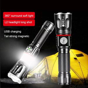 Mini Tactical LED Flashlight 1000LM Super Bright USB Rechargeable Zooming Flashlights 4 Modes Magnet Base With Sides Light