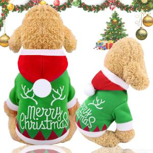 Dog Costume Christmas Pet Clothes Winter Warm Hoodie Coat Two Legs Clothing For Puppy Small Medium Dogs
